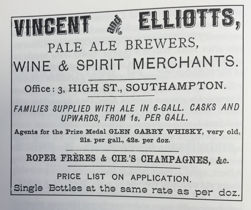 An advert from the 1800s advertising Elliotts pale ale