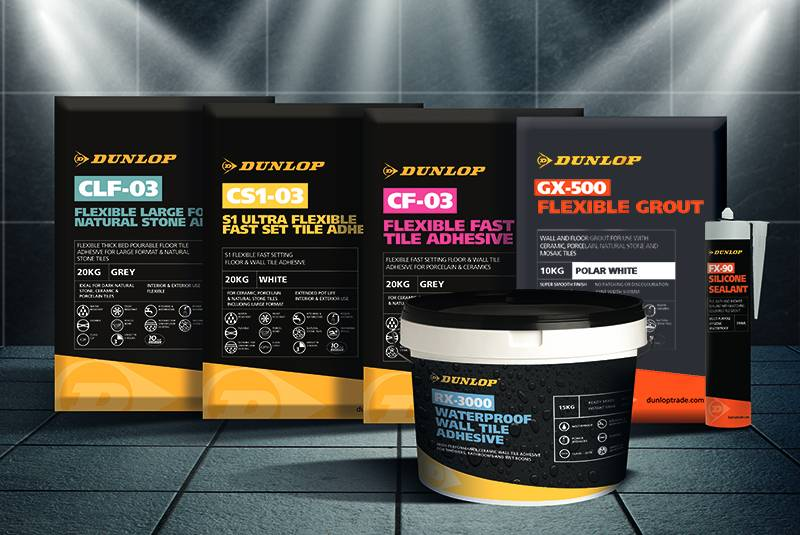 Dunlop to re-launching its powdered tile adhesive range