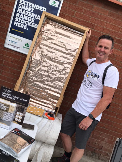 ndy Sunter, Jewson business unit director for Region N7, tried his hand at installing Actis Hybris in a mock-up timber frame wall along the route of a 130-mile Monster Walk