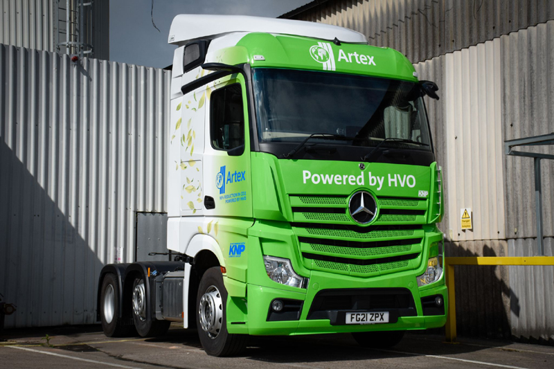 In July, Artex took delivery of a new Mercedes lorry which runs on 'hydrotreated vegetable oil' (HVO).