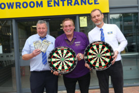Darts legend Bobby George officially opens MKM Canterbury